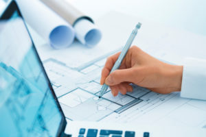 Female pencil blueprint pen hands closeup